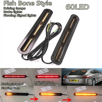 Pair 120 2835LED Dual Color Fish Bone Style DRL Running Stop Rear windshield