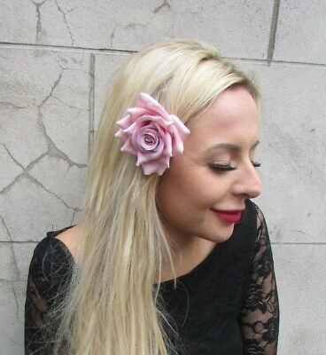 Blush Light Dusky Pink Rose Flower Hair Clip Fascinator Floral Bridesmaid 6912