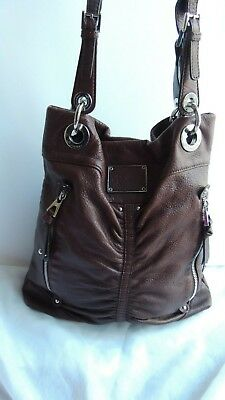 B MAKOWSKY BROWN Leather Fringed Hobo Bucket Purse Shoulder Bag ... e0851af693