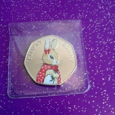 New Valentines Day Coloured Unc 2018 Flopsy Bunny 50P Coin