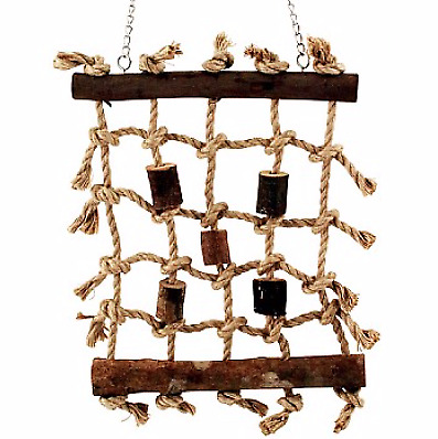 Climbing Net Parrot Toy - Jute Rope Net With Chunks Of Wood For All Pet Birds