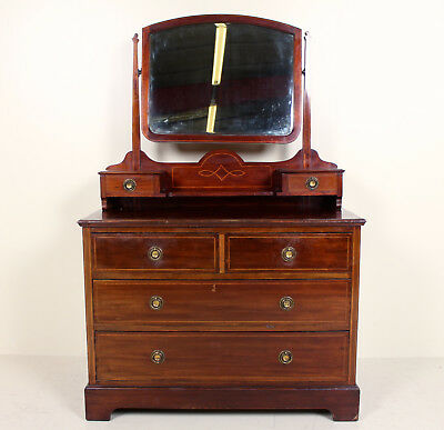 Antique Edwardian Dressing Chest of Drawers Inlaid Mahogany Mirrored