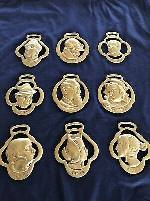 Set of 9 Antique Horse Brass Medallions Imported (England) Charles Dickens Theme