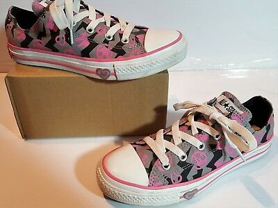 CONVERSE ALL-STAR HEARTS-Smiley Faces-Pink Sneakers Shoes Women's Girls Sz 3