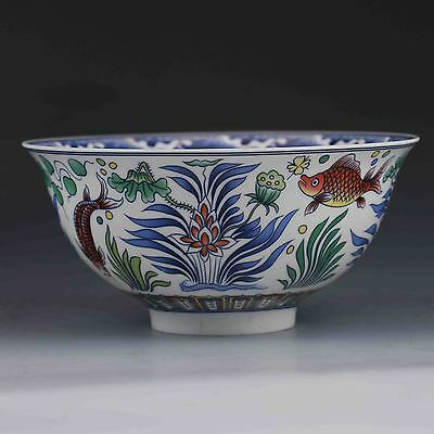 Exquisite Old CHINESE PORCELAIN BOWL HAND-PAINTED GOLDFISH W QIANLONG MARK