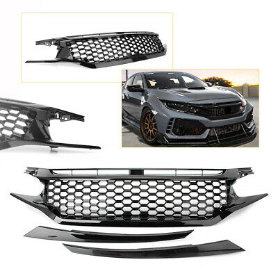 Front Grill Grille Hood Mesh Eyelid Honeycomb Glossy Black for Honda CIVIC 16-18