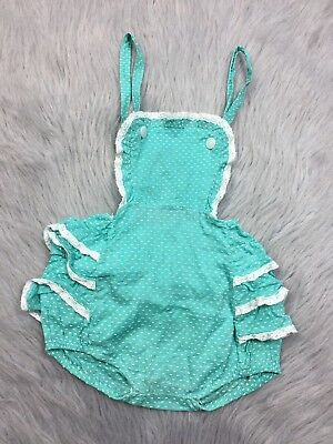 Vintage Baby Girls Sheer Mint Turquoise White Swiss Dot Ruffle Sunsuit Romper