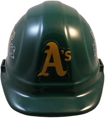 MLB OAKLAND ATHLETICS OSHA Approved Hard Hat Ratchet-Pin Type Susp Made in USA