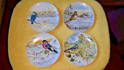 "J.W.K. Bavaria Set of 4 Bird Dessert Plates 7 3/4"" Diameter Western Germany"