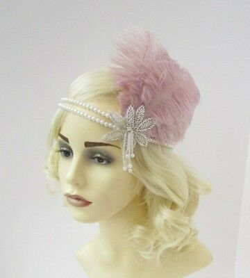 Dusky Taupe Pink Feather Ivory Pearl Headband Headpiece 1920s Great Gatsby 6934