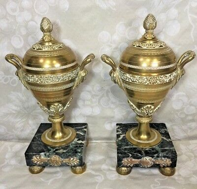 Vintage Pair of French Gilt Bronze Urns with Lids Embossed Details Marble Bases