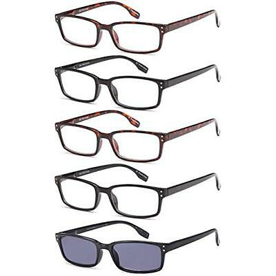 339a2a3a8ff3 Gamma RAY Readers 5 Pack Unisex Vintage Readers with Sun Glasses- 1.00x
