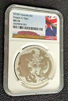 2018-P Australia 1oz Silver Dragon & Tiger | NGC MS70 | Fresh back from NGC!