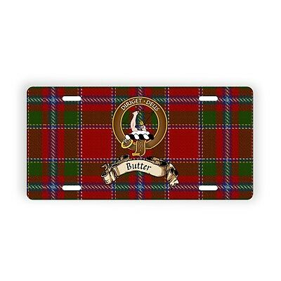 Butter Scottish Clan Tartan Auto Plate with Crest and Motto