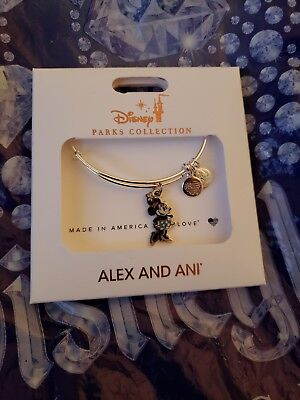 Disney Parks ALEX AND ANI Minnie Silhouette Silver Bracelet NEW in stores!