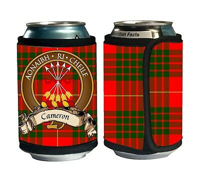Cameron Scottish Clan Tartan Can Koozie with Crest and Motto