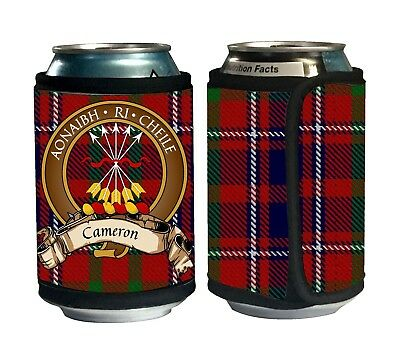 Cameron of Lochiel Scottish Clan Tartan Can Cozie with Crest and Motto