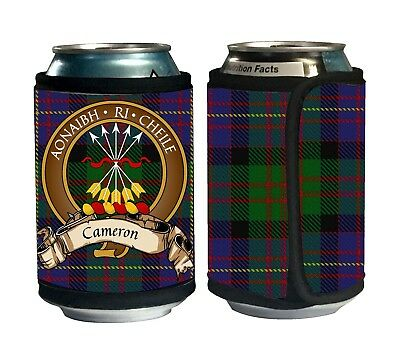 Cameron of Erracht Scottish Clan Tartan Can Koozie with Crest and Motto