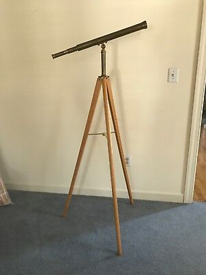 Vintage Van Cort brass telescope w/ Tripod Stand Mariner Nautical Style Sniper !