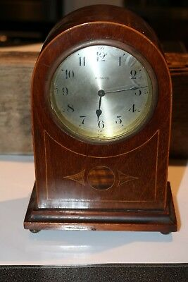 vintage 8 day inlaid wood mantle clock 21cm x13cm fixed winder working