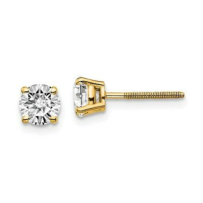14k Yellow Gold 1.00ct. SI3 G-I Diamond Stud Earrings. Carat Wt- 1ct (5MM)
