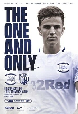 Preston North End v West Bromwich Albion 2018/19 brand new football programme