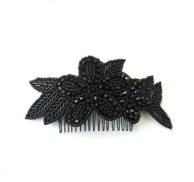 Black Beaded Flower Hair Comb 1920s Great Gatsby Flapper Vintage Funeral 6955