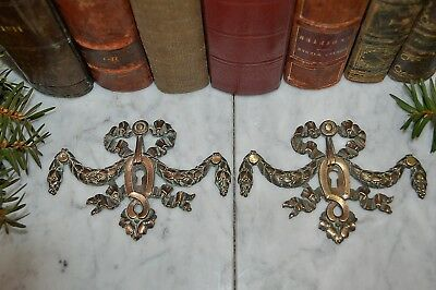 Antique Pair French Bronze Ormolu Large Keyhole Escutcheons Bow Garland Swags