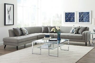 MID CENTURY MODERN Curved Fabric Sofa Sectional Accent ...