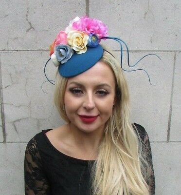 Teal Turquoise Blue Pink Yellow Floral Flower Feather Hat Hair Fascinator 6966