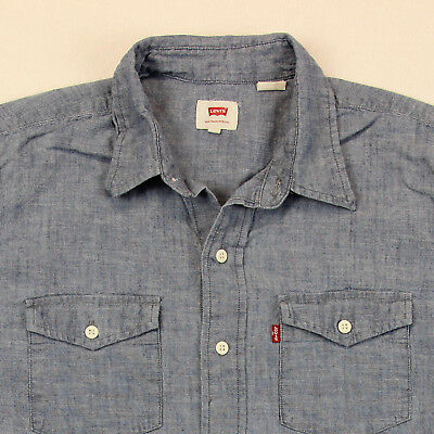 LEVIS STRAUSS Button Shirt ~ Men S/M │ Blue Chambray LVC Red Tab Pocket Small