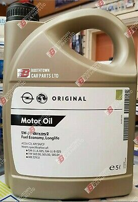 VAUXHALL 5w 30 GENUINE GM DEXOS 2 C3 5 LITRE VW FULLY SYN ENGINE OIL *