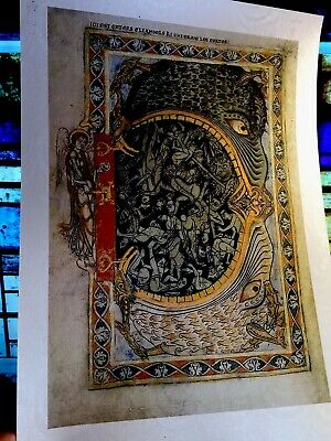 Harrowing Of Hell Winchester Psalter Illuminated Manuscript Gold Accents New