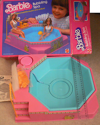 Vintage 1980s Mattel Barbie Bubbling Spa Pool pink preowned