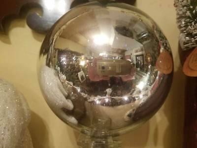 """Antique Original 6"""" Victorian Silver Gazing Witches Ball Orb NR!"""