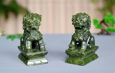 A Pair100% Natural China Green Jade Carved Fengshui Foo Fu Dog Guard Door Lion R
