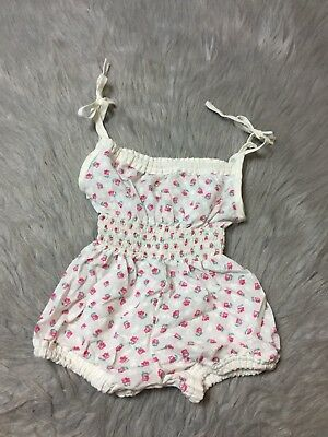 Vintage Baby Girls White Pink Floral Smocked Waist Shoulder Tie Sunsuit Romper