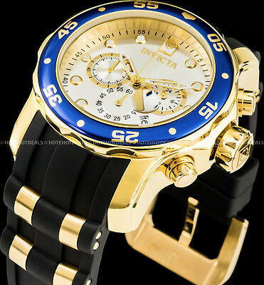 Invicta 48mm Mens Pro Diver Scuba Chronograph Blue Bezel Gold Plated 200MT Watch
