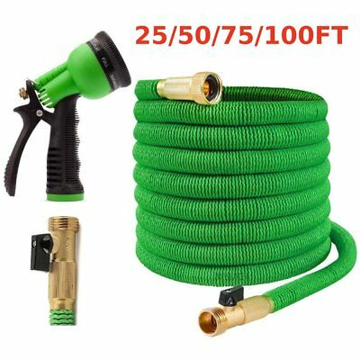 Latex Deluxe 25 50 75 100 Ft 3X Expandable Flexible Garden Water Hose Green BE