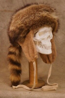 Antique Fur Hat Davy Crockett with Handmade Ear Flaps (See all pictures)