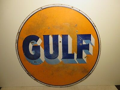 "30"" Round DS 1930 authentic Gulf Original Porcelain Gas & Oil Advertising Sign"
