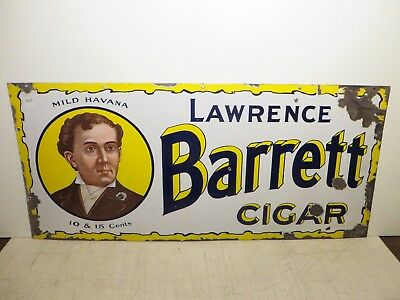 18x40 Original 1915 Lawence Barrett Havana Cigar Porcelain Gas & Oil Adv. Sign