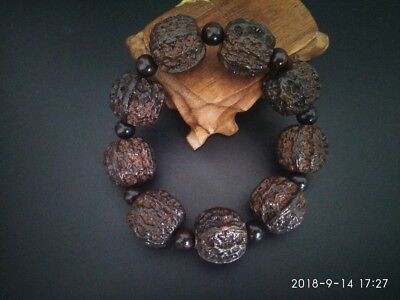 CHINESE HAND CARVED Natural Buddha Beads Wood Bracelet with Walnuts Pattern TR