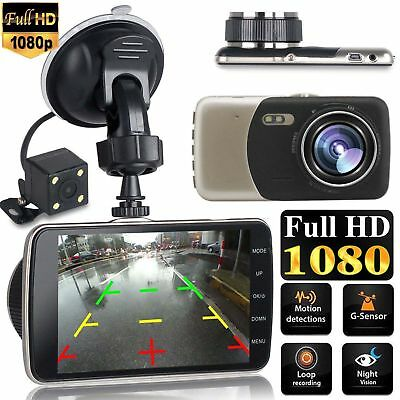 Dual Lens Camera HD Car DVR Dash Cam Video Recorder G-Sensor Night Vision 4""