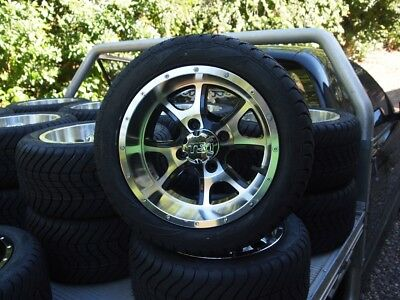 Golf Cart Car Buggy 12 Inch Custom Wheels & Tyres With Nuts & Ss Caps
