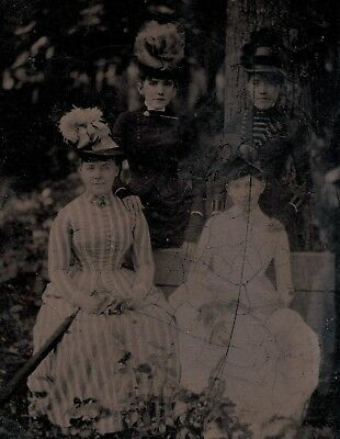 Old Vintage Antique Tintype Photo Beautiful Young Ladies Women In A Park Forest