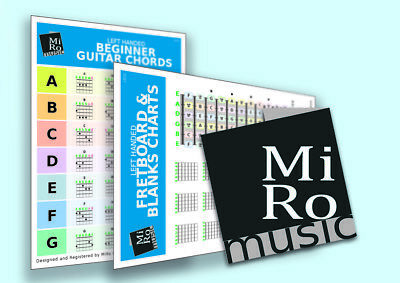 Left Handed Beginners / Learners Guitar Chord Chart, Double Sided, 28 chords inc