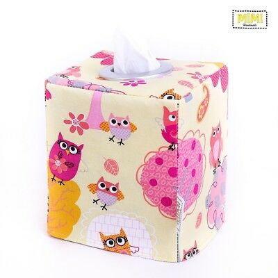 Modern Handmade Tissue Box Cover Holder Bathroom Kids Nursery YELLOW OWLS