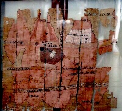 3000 yrs old Turin Papyrus-gold mine map, 20th Dynasty Re-production New
