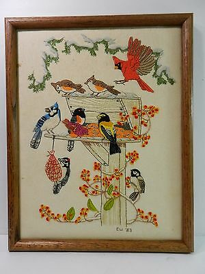 Folk Art Birds Needlepoint Framed Audubon Cardinal Woodpecker Blue Jay